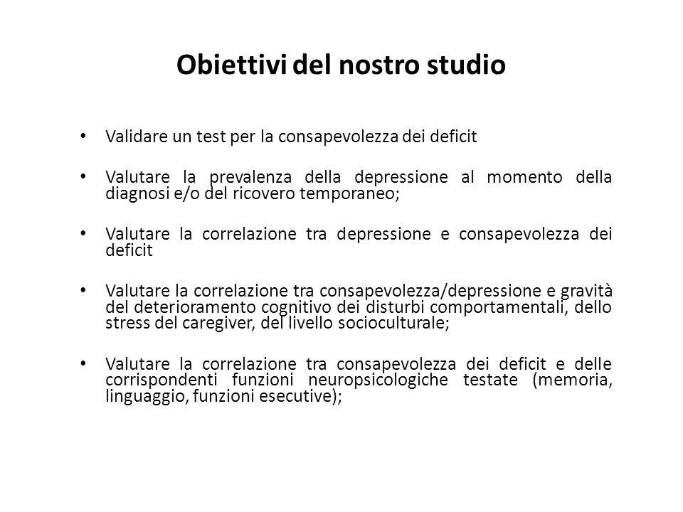 Obiettivi del nostro studio