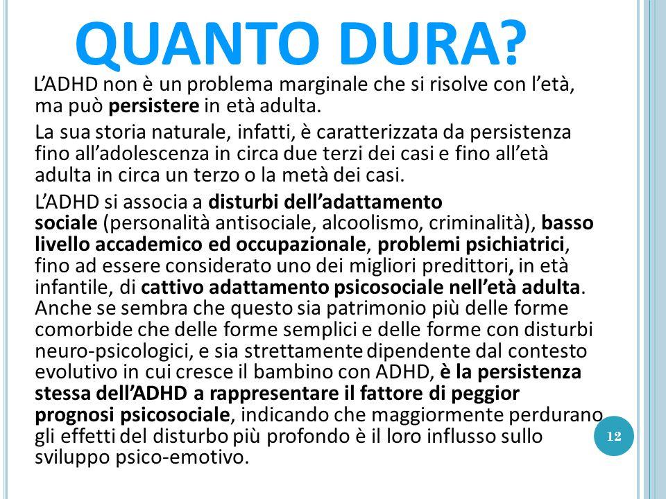 QUANTO DURA L'ADHD non è un problema marginale che si risolve con l'età, ma può persistere in età adulta.