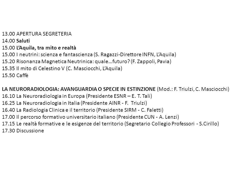 13.00 APERTURA SEGRETERIA 14.00 Saluti. 15.00 L'Aquila, tra mito e realtà.