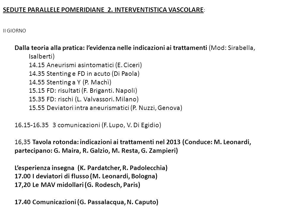 SEDUTE PARALLELE POMERIDIANE 2. INTERVENTISTICA VASCOLARE: