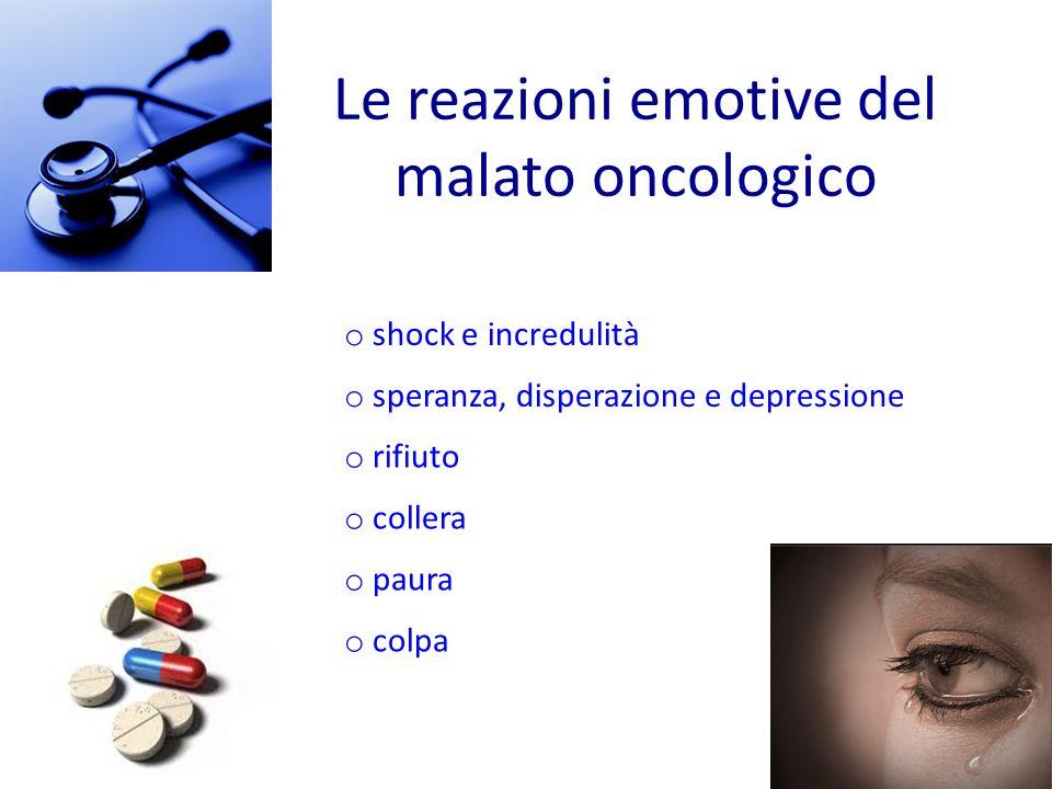 Le reazioni emotive del malato oncologico
