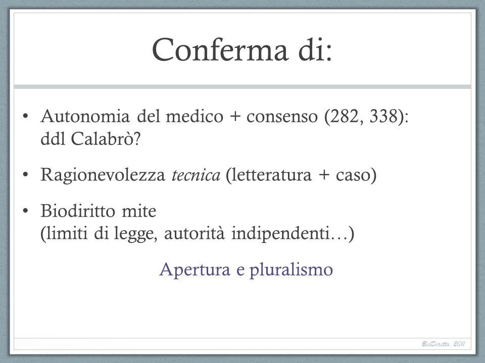 Conferma di: Autonomia del medico + consenso (282, 338): ddl Calabrò