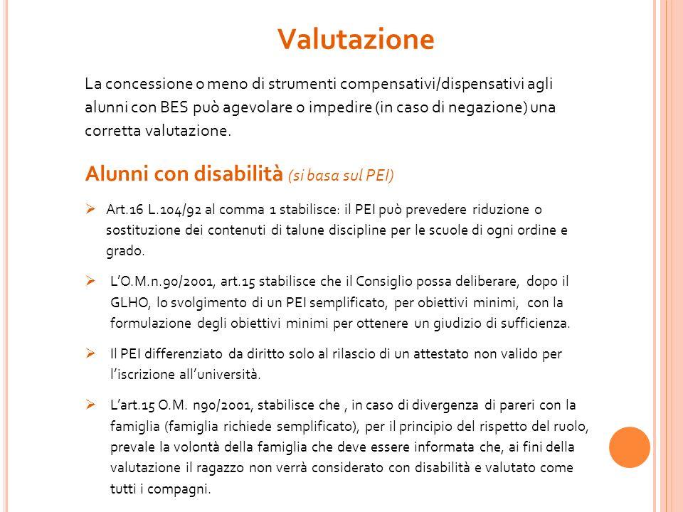 Valutazione Alunni con disabilità (si basa sul PEI)