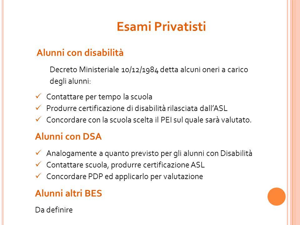 Esami Privatisti Alunni con disabilità Alunni con DSA Alunni altri BES