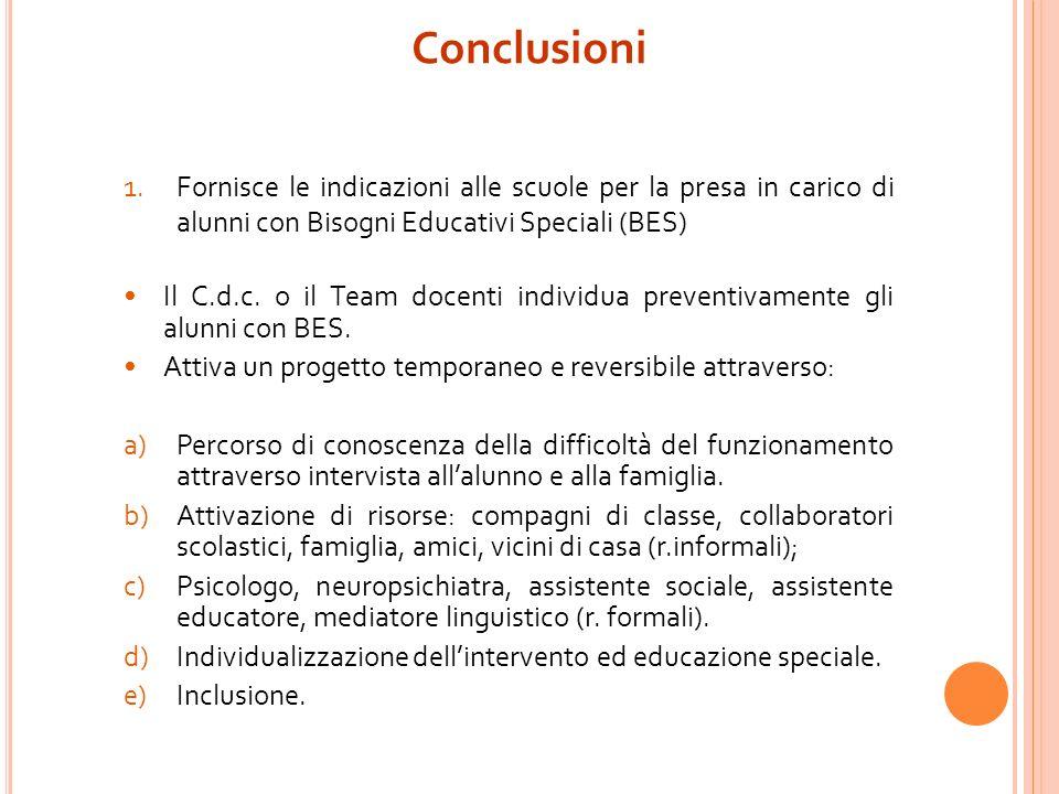 Conclusioni Fornisce le indicazioni alle scuole per la presa in carico di alunni con Bisogni Educativi Speciali (BES)