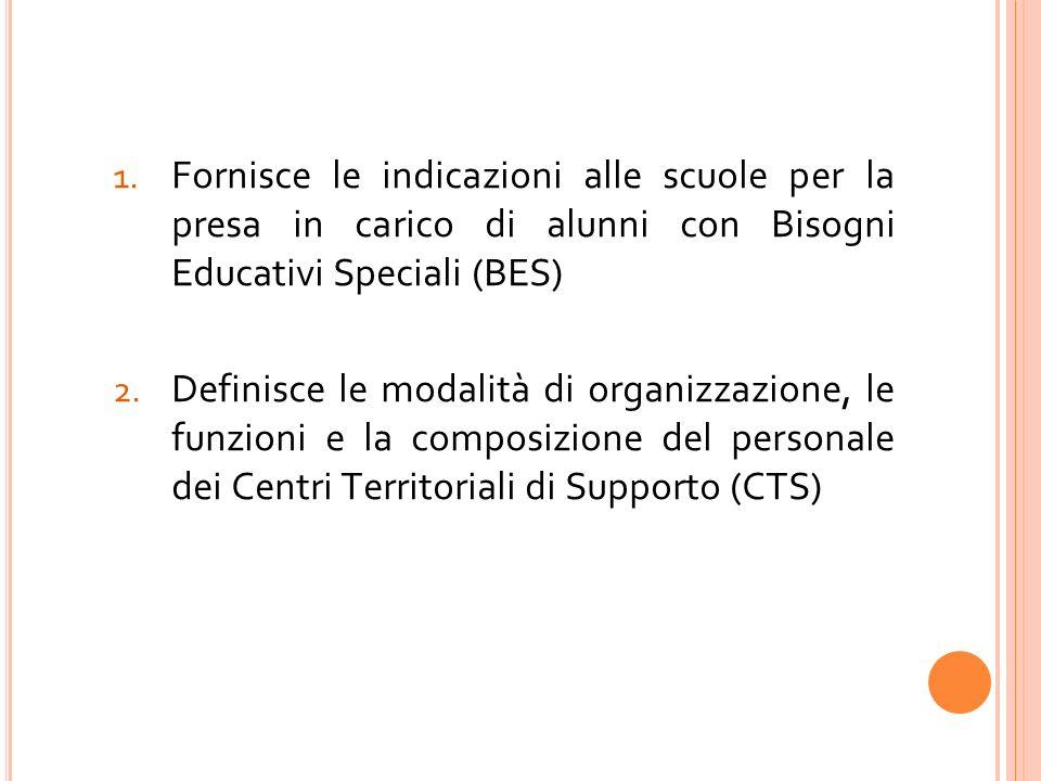 Fornisce le indicazioni alle scuole per la presa in carico di alunni con Bisogni Educativi Speciali (BES)