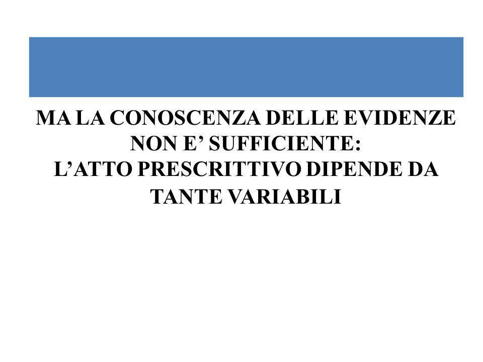 MA LA CONOSCENZA DELLE EVIDENZE NON E' SUFFICIENTE: L'ATTO PRESCRITTIVO DIPENDE DA TANTE VARIABILI