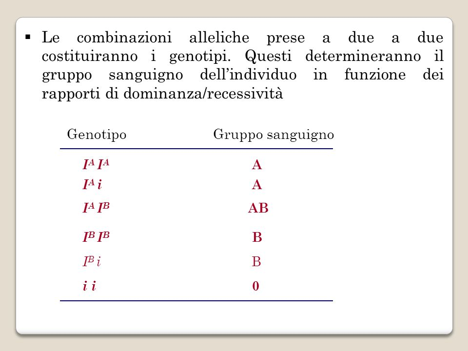 Le combinazioni alleliche prese a due a due costituiranno i genotipi
