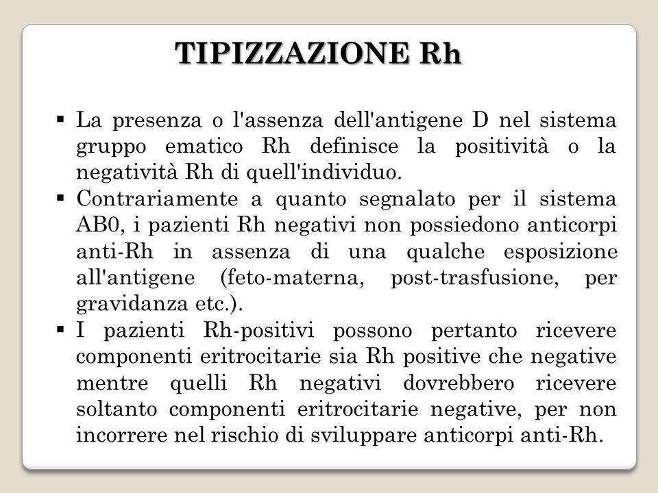 TIPIZZAZIONE Rh La presenza o l assenza dell antigene D nel sistema gruppo ematico Rh definisce la positività o la negatività Rh di quell individuo.