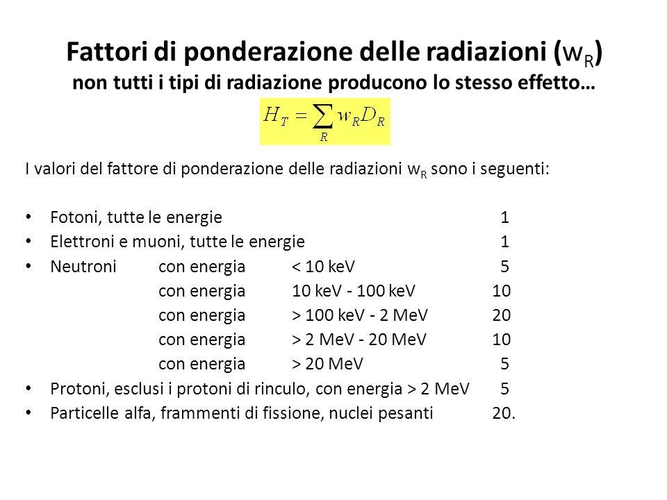 Fattori di ponderazione delle radiazioni (wR) non tutti i tipi di radiazione producono lo stesso effetto…