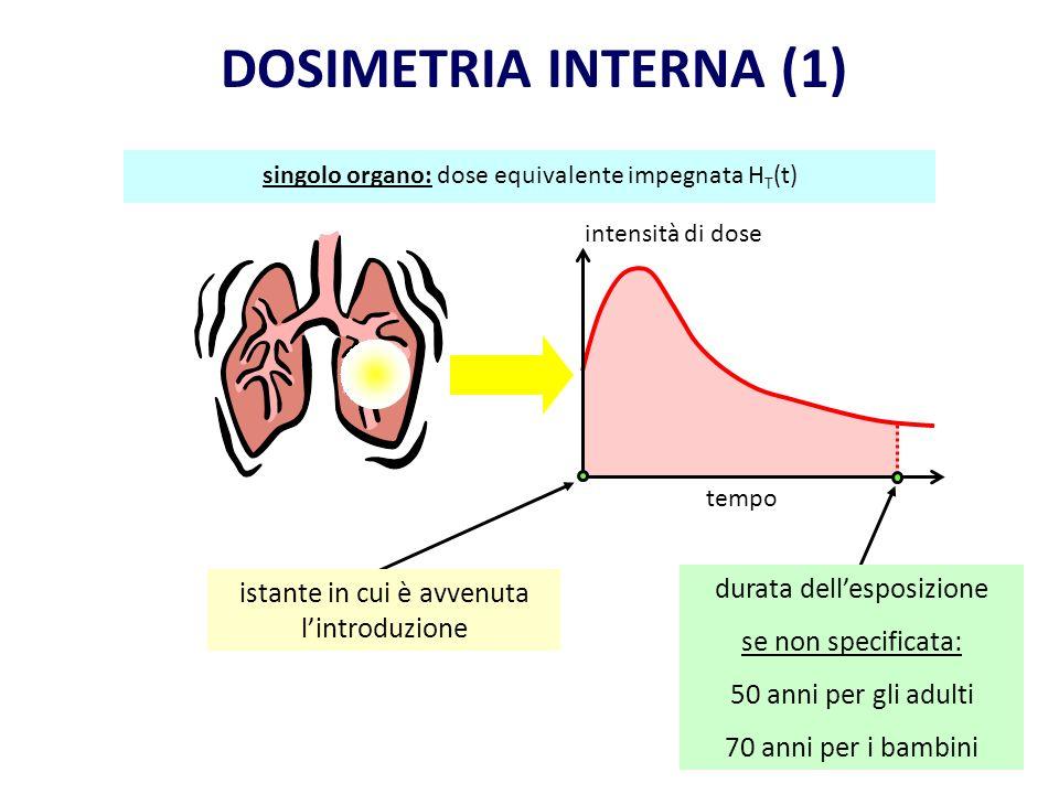 DOSIMETRIA INTERNA (1) durata dell'esposizione