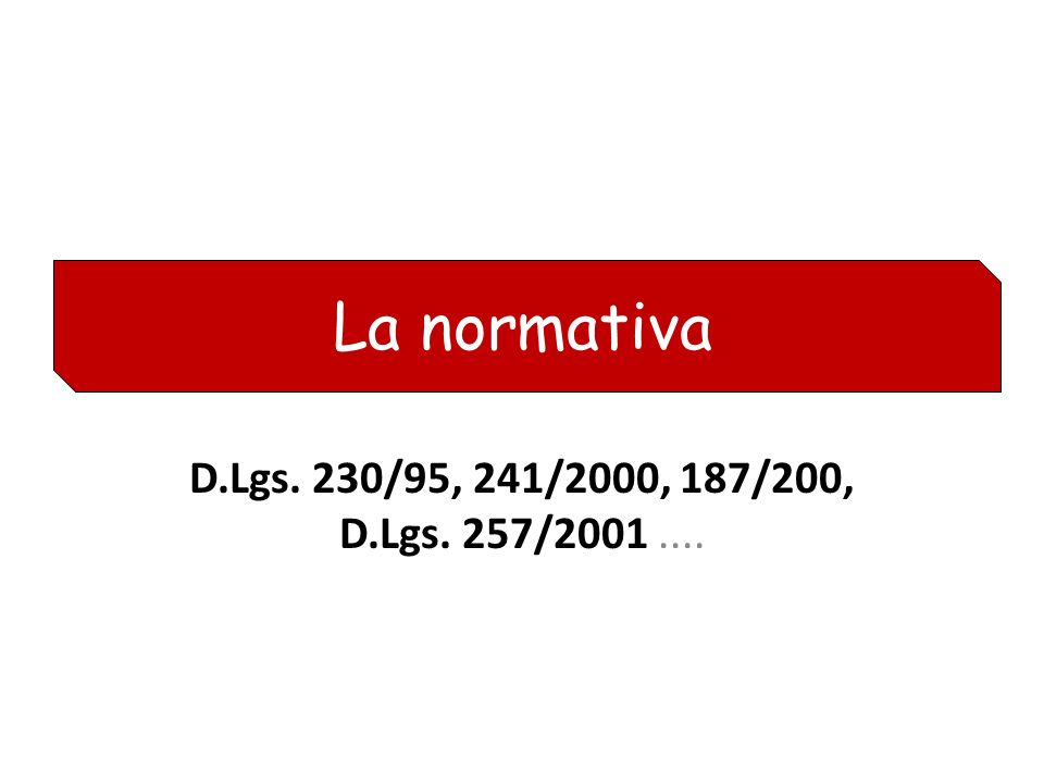 La normativa D.Lgs. 230/95, 241/2000, 187/200, D.Lgs. 257/2001 ....