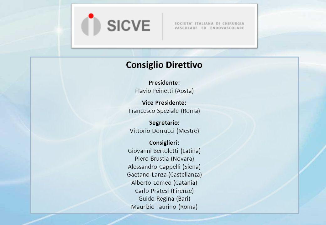 Consiglio Direttivo Presidente: Flavio Peinetti (Aosta)