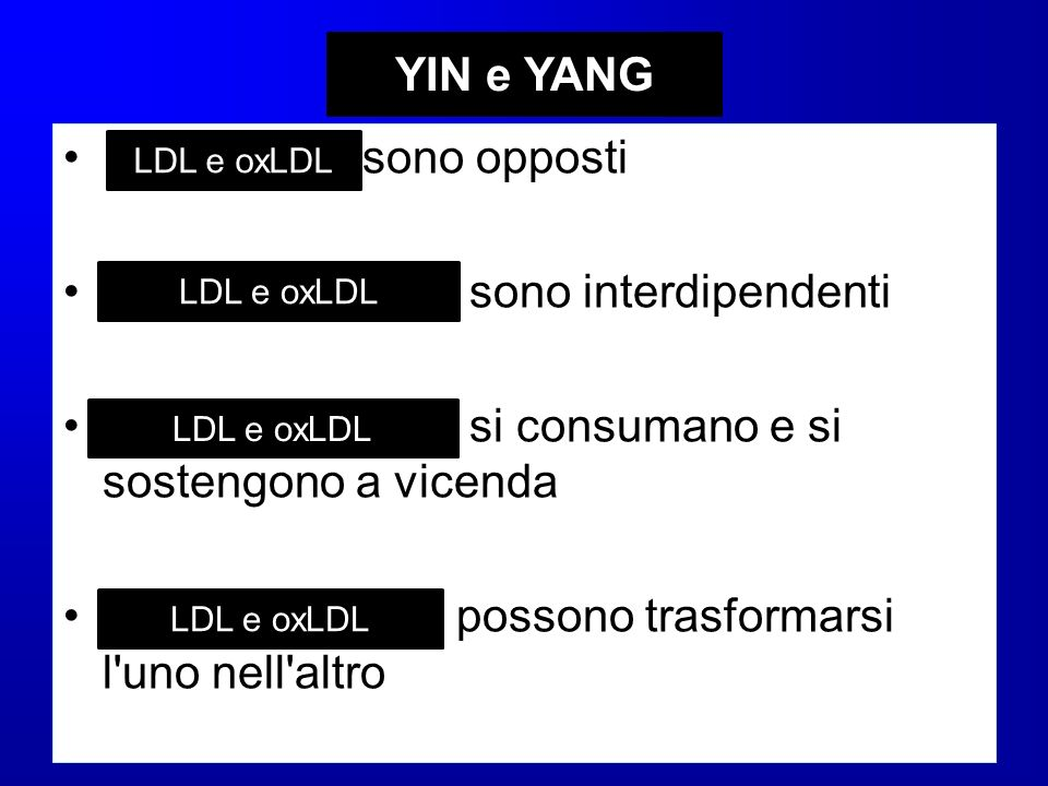 LDL e oxLDL YIN e YANG Yin e Yang sono opposti