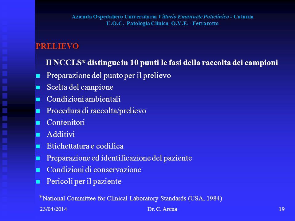 Il NCCLS* distingue in 10 punti le fasi della raccolta dei campioni