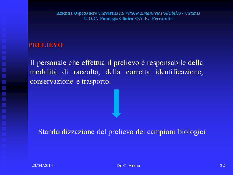Standardizzazione del prelievo dei campioni biologici