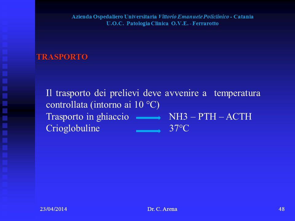 Trasporto in ghiaccio NH3 – PTH – ACTH Crioglobuline 37°C