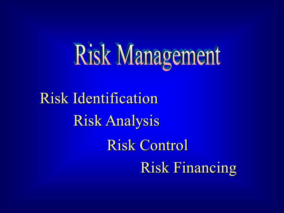 Risk Identification Risk Analysis Risk Control Risk Financing