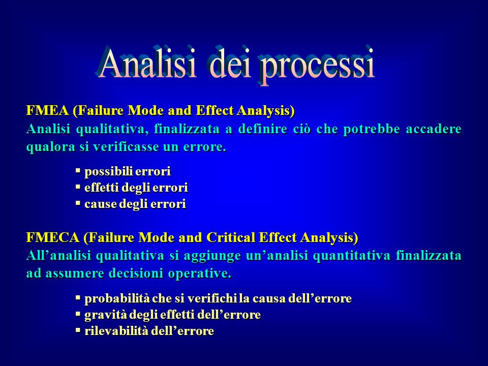Analisi dei processi FMEA (Failure Mode and Effect Analysis)