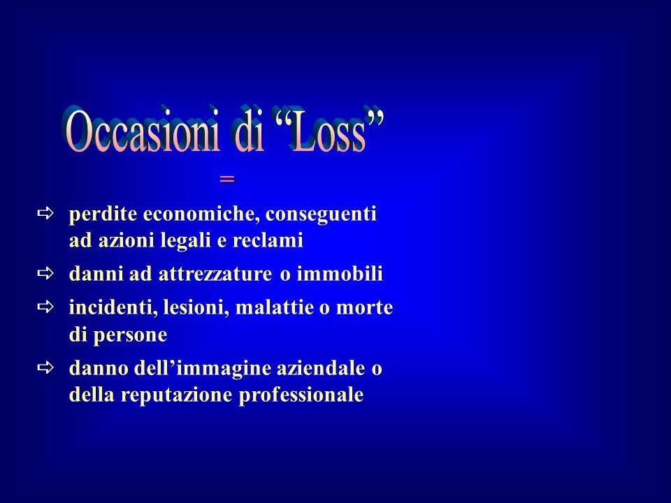 Occasioni di Loss = perdite economiche, conseguenti ad azioni legali e reclami. danni ad attrezzature o immobili.