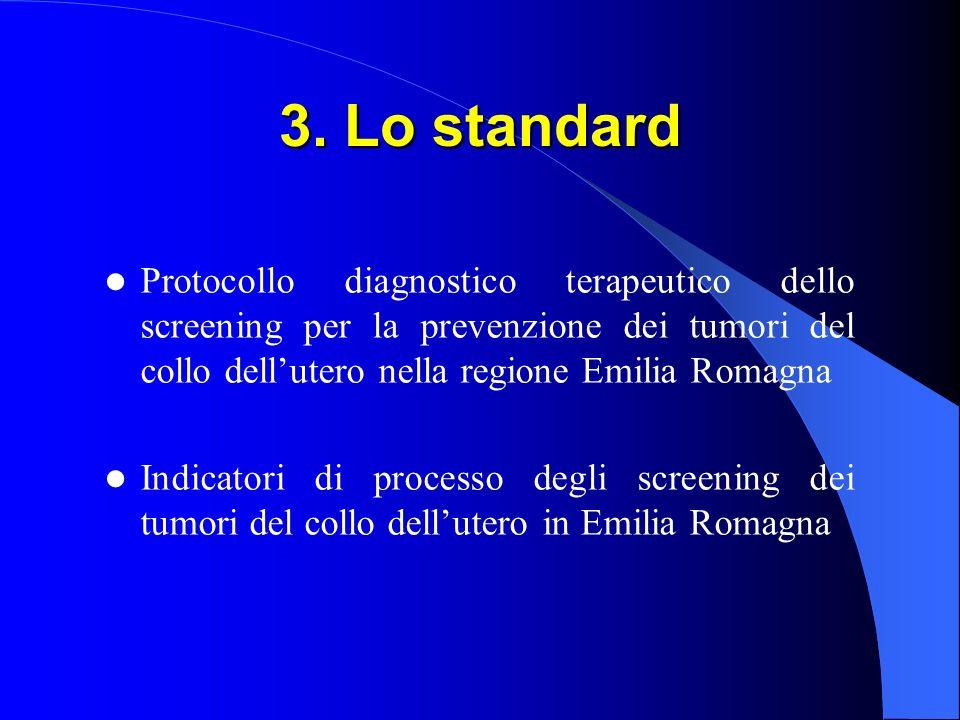3. Lo standard Protocollo diagnostico terapeutico dello screening per la prevenzione dei tumori del collo dell'utero nella regione Emilia Romagna.