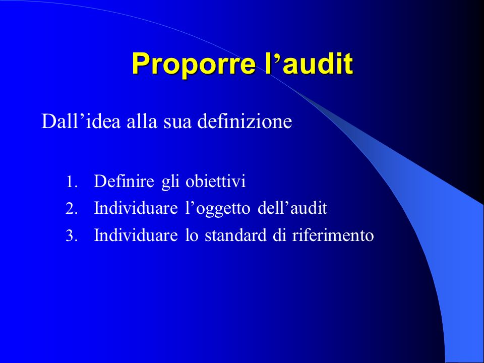Proporre l'audit Dall'idea alla sua definizione Definire gli obiettivi