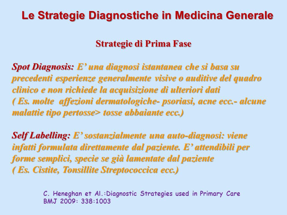 Le Strategie Diagnostiche in Medicina Generale