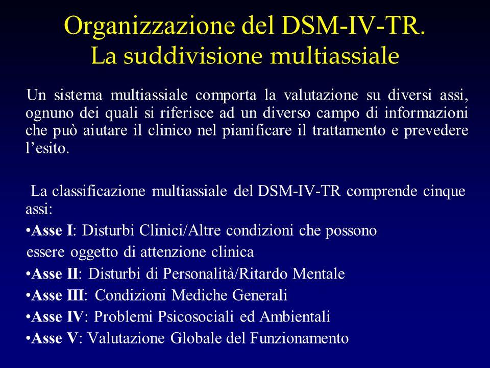 Organizzazione del DSM-IV-TR. La suddivisione multiassiale