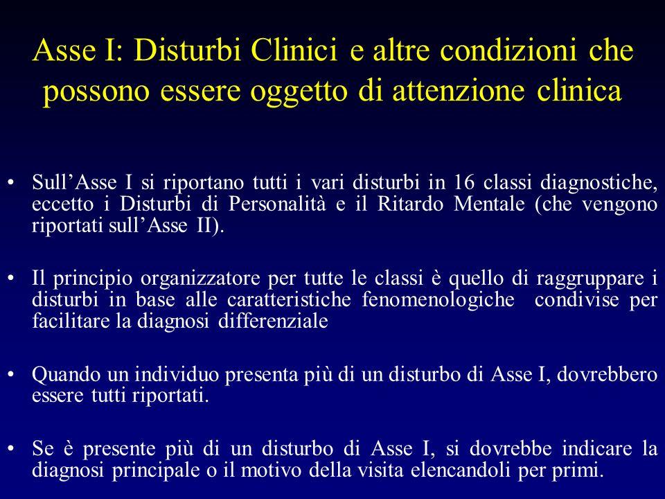 Asse I: Disturbi Clinici e altre condizioni che possono essere oggetto di attenzione clinica