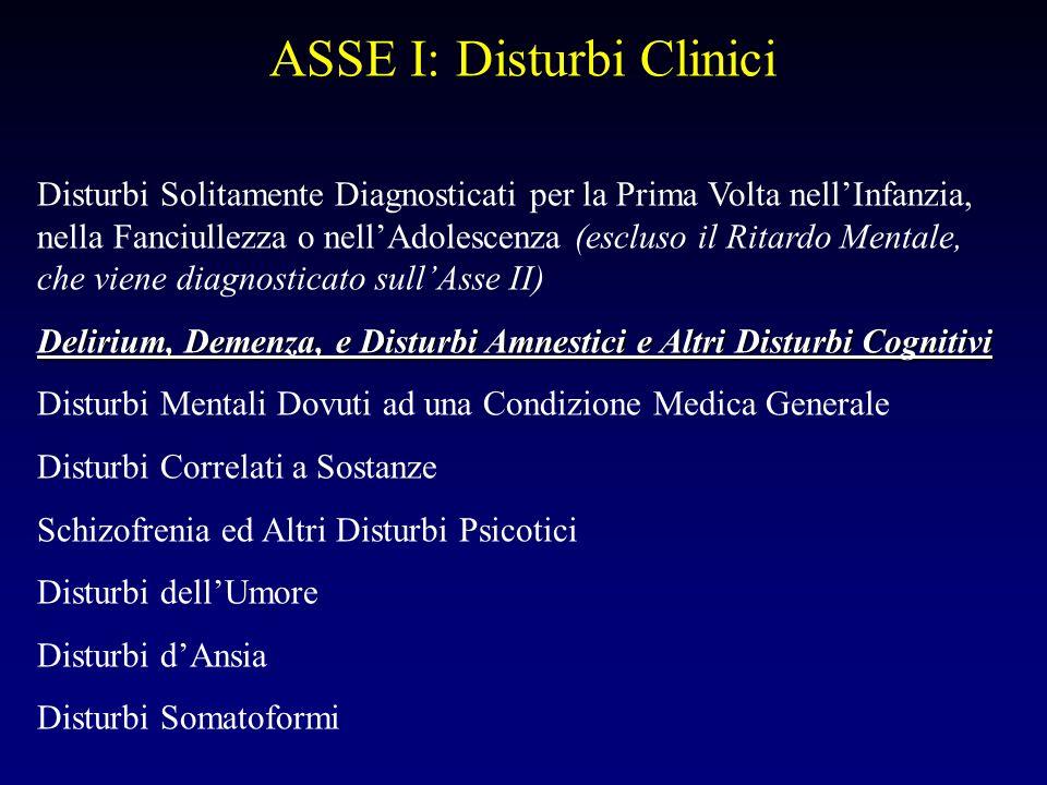 ASSE I: Disturbi Clinici