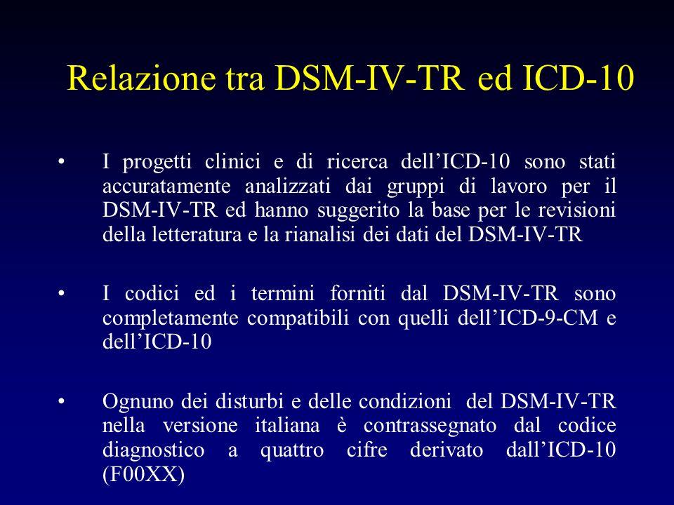 Relazione tra DSM-IV-TR ed ICD-10