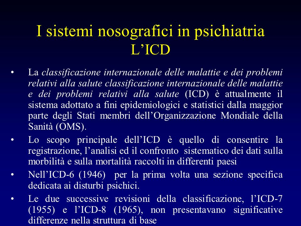 I sistemi nosografici in psichiatria L'ICD