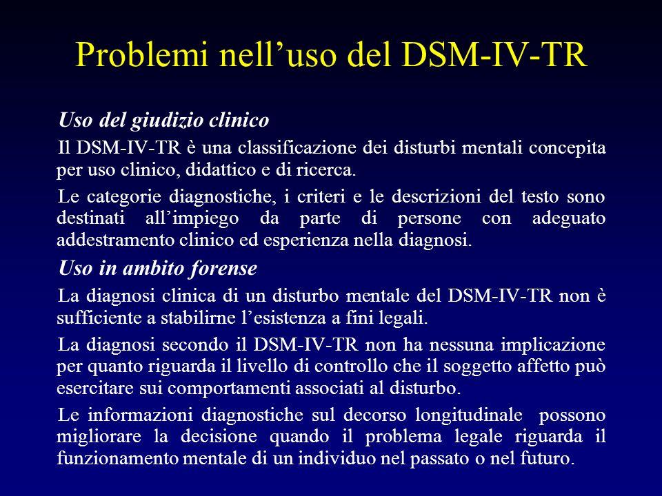 Problemi nell'uso del DSM-IV-TR
