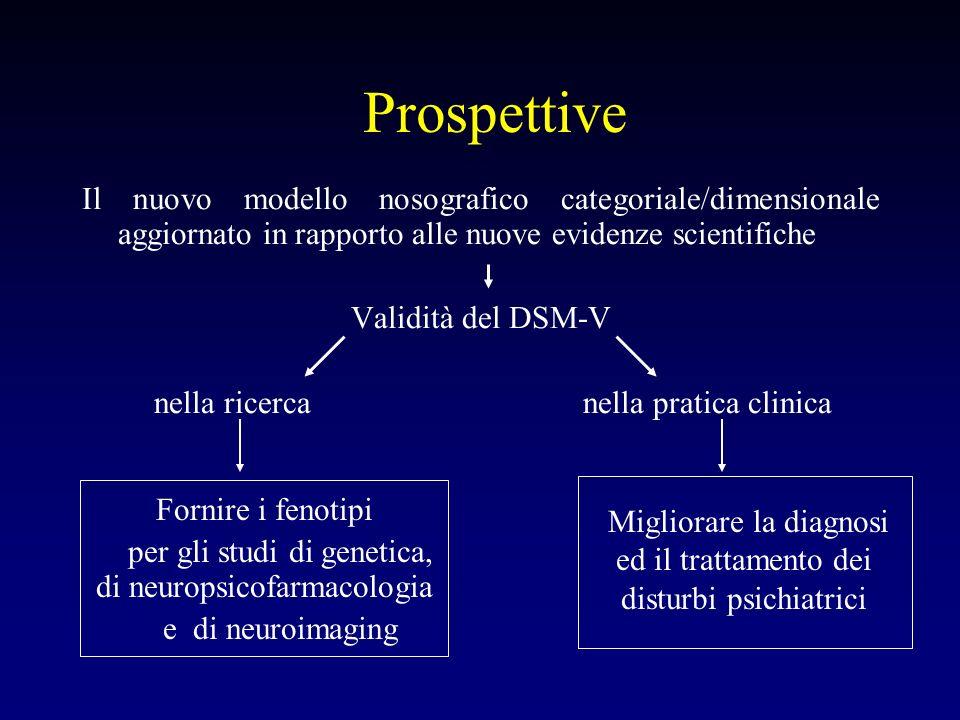 Prospettive Il nuovo modello nosografico categoriale/dimensionale aggiornato in rapporto alle nuove evidenze scientifiche.
