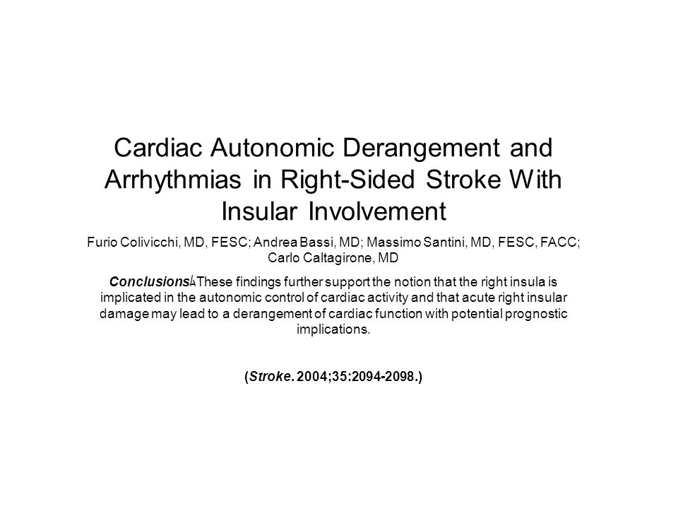 Cardiac Autonomic Derangement and Arrhythmias in Right-Sided Stroke With Insular Involvement