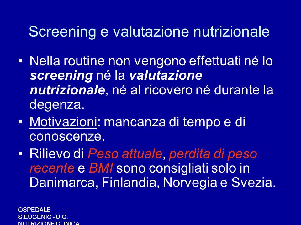Screening e valutazione nutrizionale