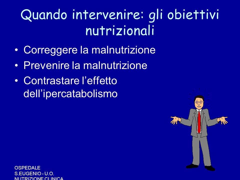 Quando intervenire: gli obiettivi nutrizionali