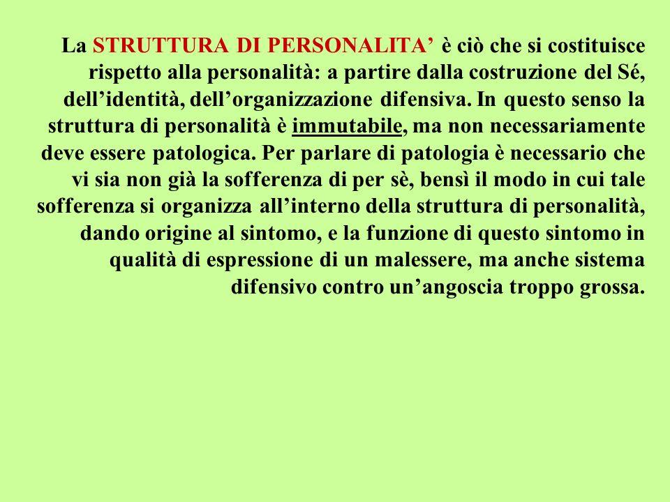 La STRUTTURA DI PERSONALITA' è ciò che si costituisce rispetto alla personalità: a partire dalla costruzione del Sé, dell'identità, dell'organizzazione difensiva.