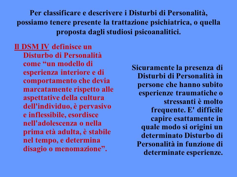 Per classificare e descrivere i Disturbi di Personalità, possiamo tenere presente la trattazione psichiatrica, o quella proposta dagli studiosi psicoanalitici.