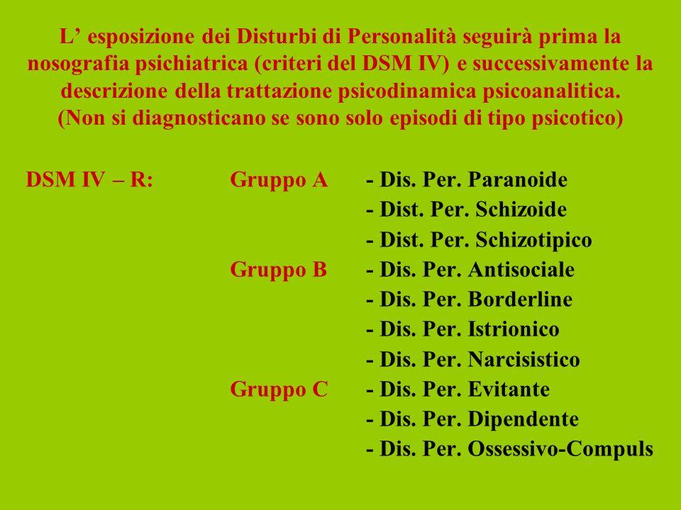 L' esposizione dei Disturbi di Personalità seguirà prima la nosografia psichiatrica (criteri del DSM IV) e successivamente la descrizione della trattazione psicodinamica psicoanalitica. (Non si diagnosticano se sono solo episodi di tipo psicotico)