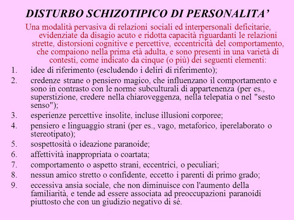 DISTURBO SCHIZOTIPICO DI PERSONALITA'