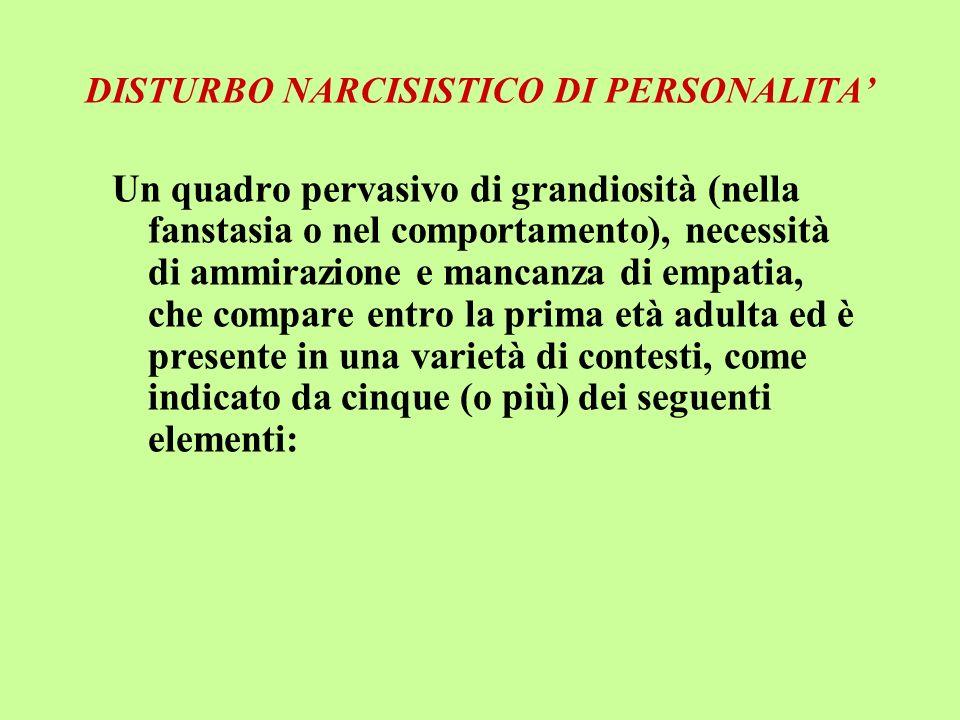 DISTURBO NARCISISTICO DI PERSONALITA'