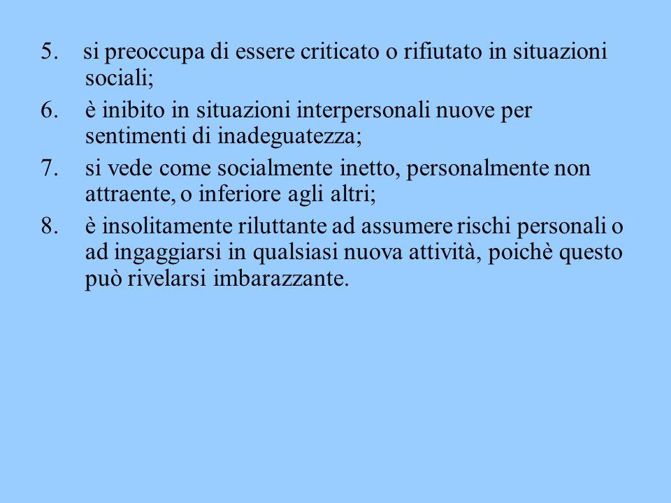 5. si preoccupa di essere criticato o rifiutato in situazioni sociali;