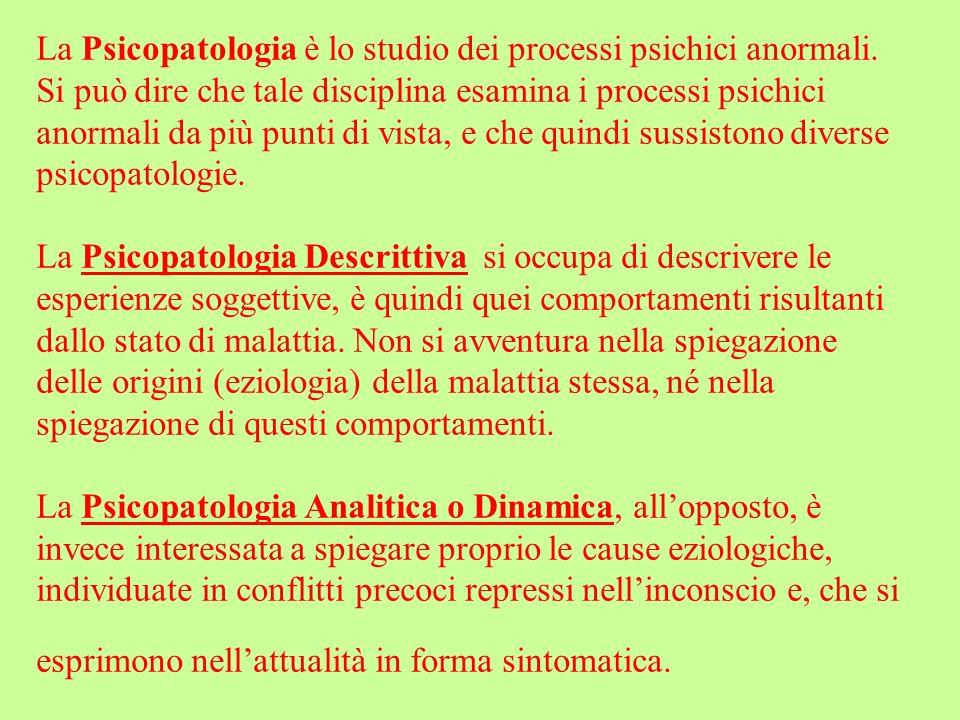 La Psicopatologia è lo studio dei processi psichici anormali