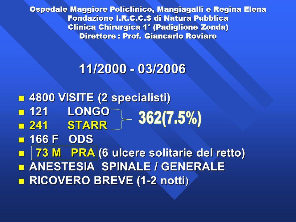 73 M PRA (6 ulcere solitarie del retto) ANESTESIA SPINALE / GENERALE