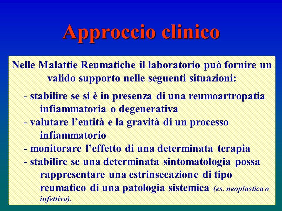 Approccio clinico Nelle Malattie Reumatiche il laboratorio può fornire un valido supporto nelle seguenti situazioni: