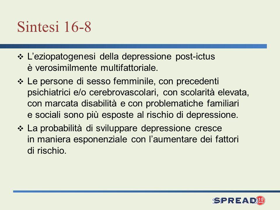 Sintesi 16-8 L'eziopatogenesi della depressione post-ictus è verosimilmente multifattoriale.
