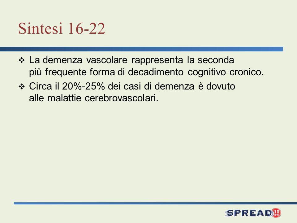 Sintesi 16-22 La demenza vascolare rappresenta la seconda più frequente forma di decadimento cognitivo cronico.