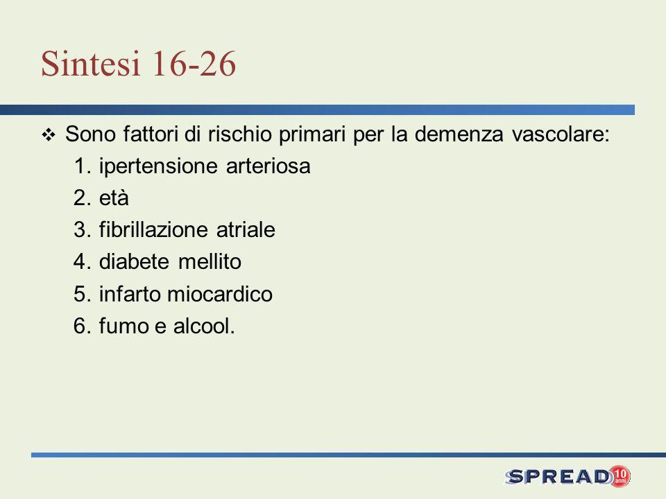 Sintesi 16-26 Sono fattori di rischio primari per la demenza vascolare: 1. ipertensione arteriosa.
