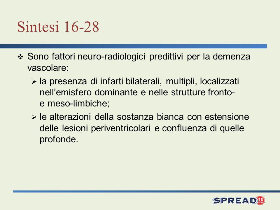 Sintesi 16-28 Sono fattori neuro-radiologici predittivi per la demenza vascolare: